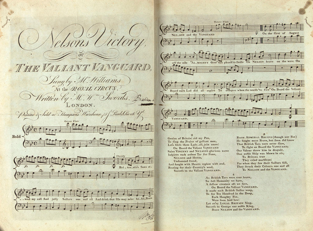 Detail of Emma's Songbook, 'Nelson's Victory' by unknown