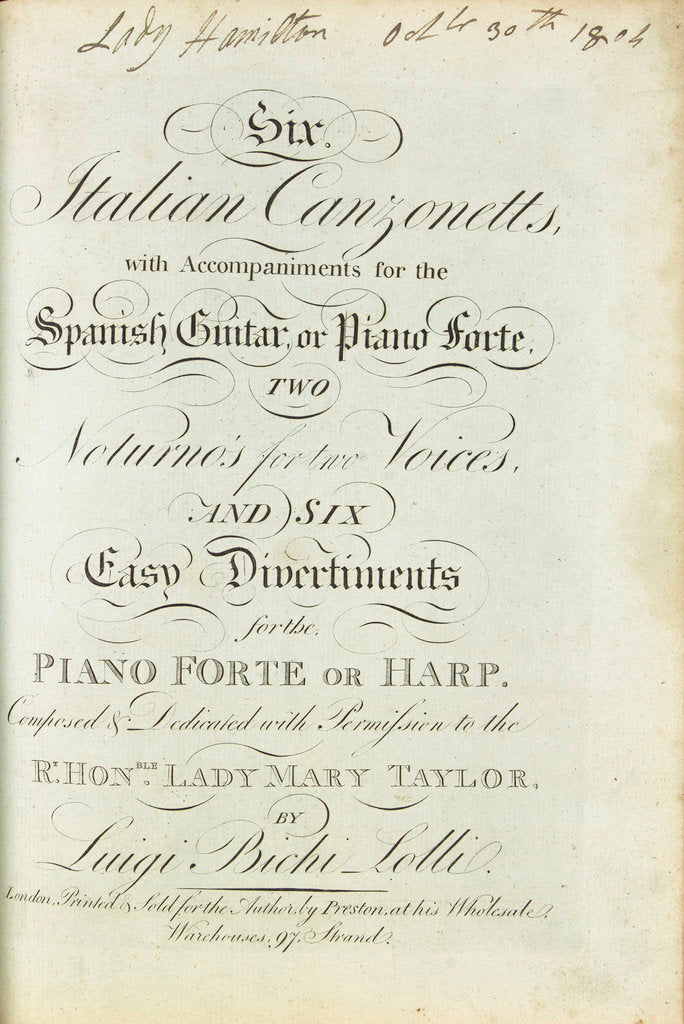 Detail of Emma's Songbook, 'Six Italian Canzonetts' by unknown