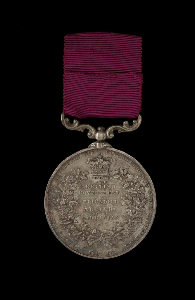Detail of Sea Gallantry Medal, Foreign Services 1847, reverse by W. Wyon