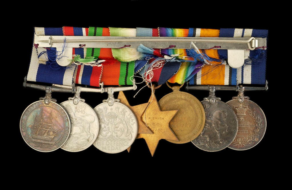 Detail of Medals awarded to P. S. N. SMITH CPO RN (reverse, r to l, MED1196-1203) by unknown