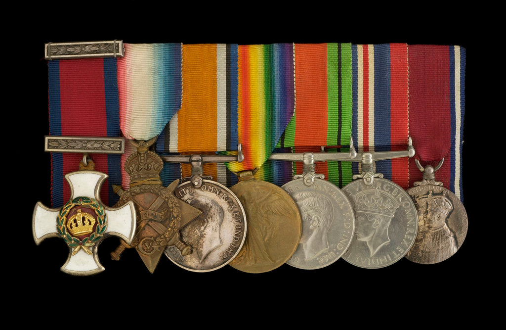 Detail of Medals awarded to Captain C. H. Allen DSO RN (obverse, l to r, MED1163-1169) by W. Wyon