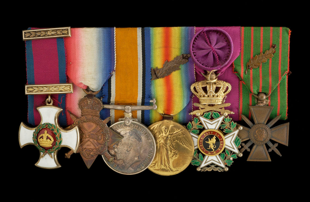 Detail of Medals on bar (obverse, left to right): Distinguished Service Order, 1914-15 Star; British War Medal 1914-1918; Victory Medal 1914-1918; Order of Leopold, 4th class (military); Croix de Guerre 1914-1918 by W. Wyon