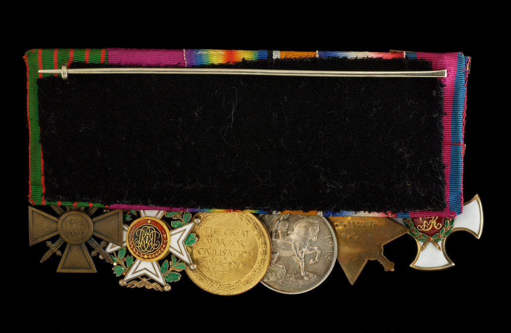 Detail of Medals on bar (reverse, right to left): Distinguished Service Order, 1914-15 Star; British War Medal 1914-1918; Victory Medal 1914-1918; Order of Leopold, 4th class (military); Croix de Guerre 1914-1918 by W. Wyon
