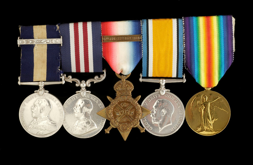 Detail of Medals awarded to Arthur Robert Blore (obverse, left to right, MED1860-1864) by B. Mackennal