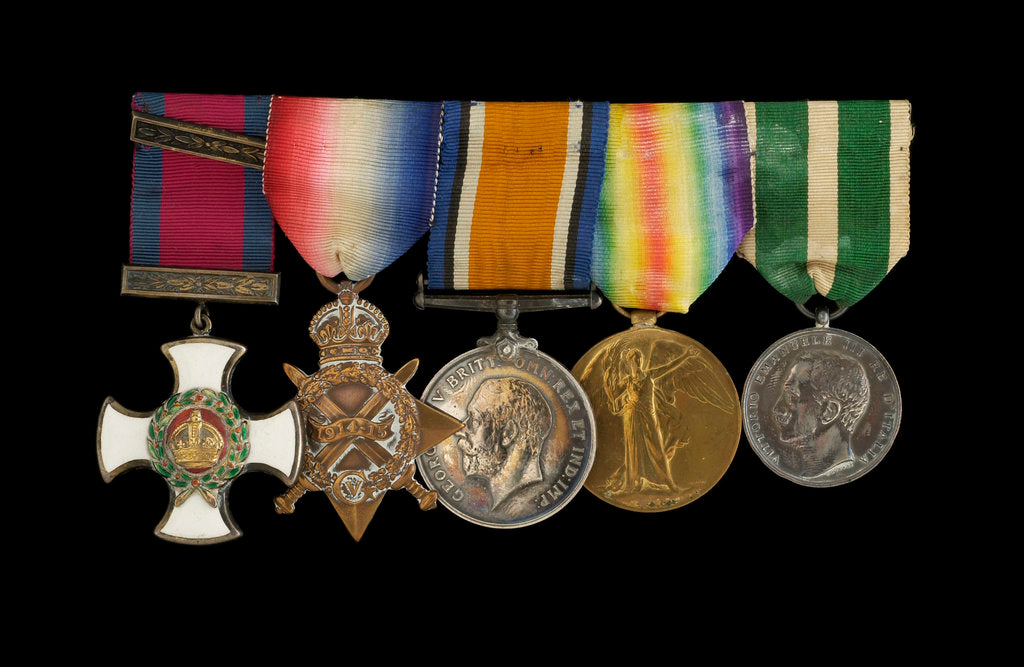 Detail of Medals awarded to Rear Admiral Harold Hugh Huxham DSO (obverse, l to r, MED1634-1638) by W. Wyon
