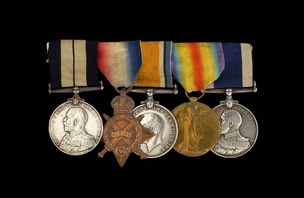 Detail of Medals awarded to Petty Officer Cecil Ernest Edgar Miles DSM (obverse, l to r, MED1393-1397) by B. Mackennal