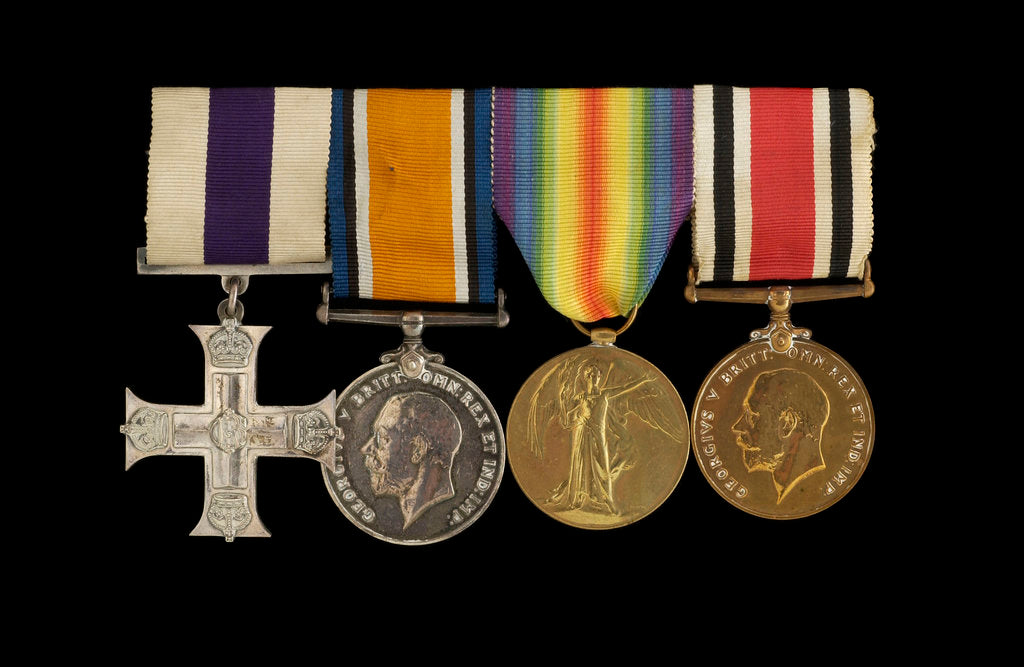 Detail of Medals awarded to Sub-Lieutenant Albert E. Dossett MC RNVR (obverse, l to r, MED1500-1503) by unknown