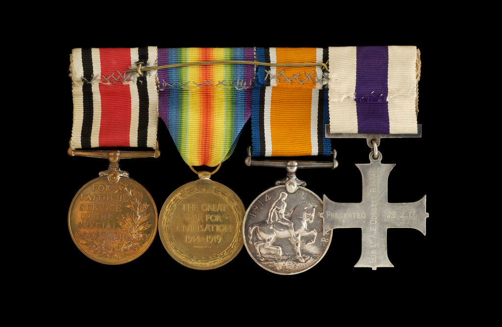 Detail of Medals awarded to Sub-Lieutenant Albert E. Dossett MC RNVR (reverse, r to l, MED1500-1503) by unknown