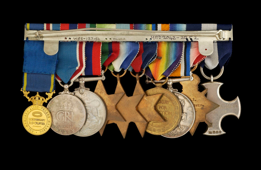Detail of Medals awarded to Vice-Admiral Robert Don Oliver (reverse, r to l, MED2043-2052) by Garrard & Co.