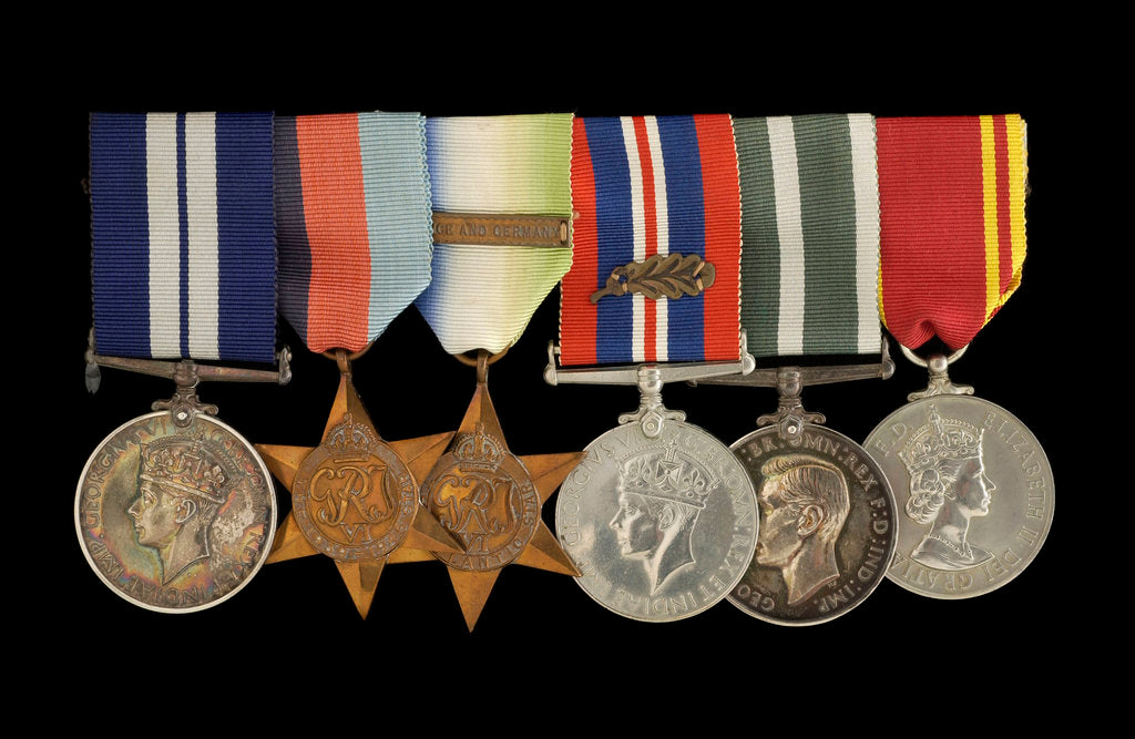 Detail of Medals awarded to W. T. Elmslie DSM RNR (obverse, l to r, MED1643-1648) by P. Metcalfe