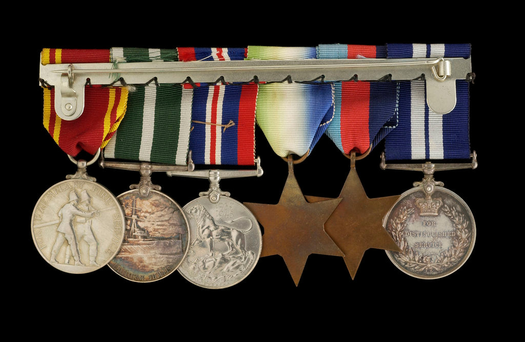 Detail of Medals awarded to W. T. Elmslie DSM RNR (reverse, l to r, MED1643-1648) by P. Metcalfe