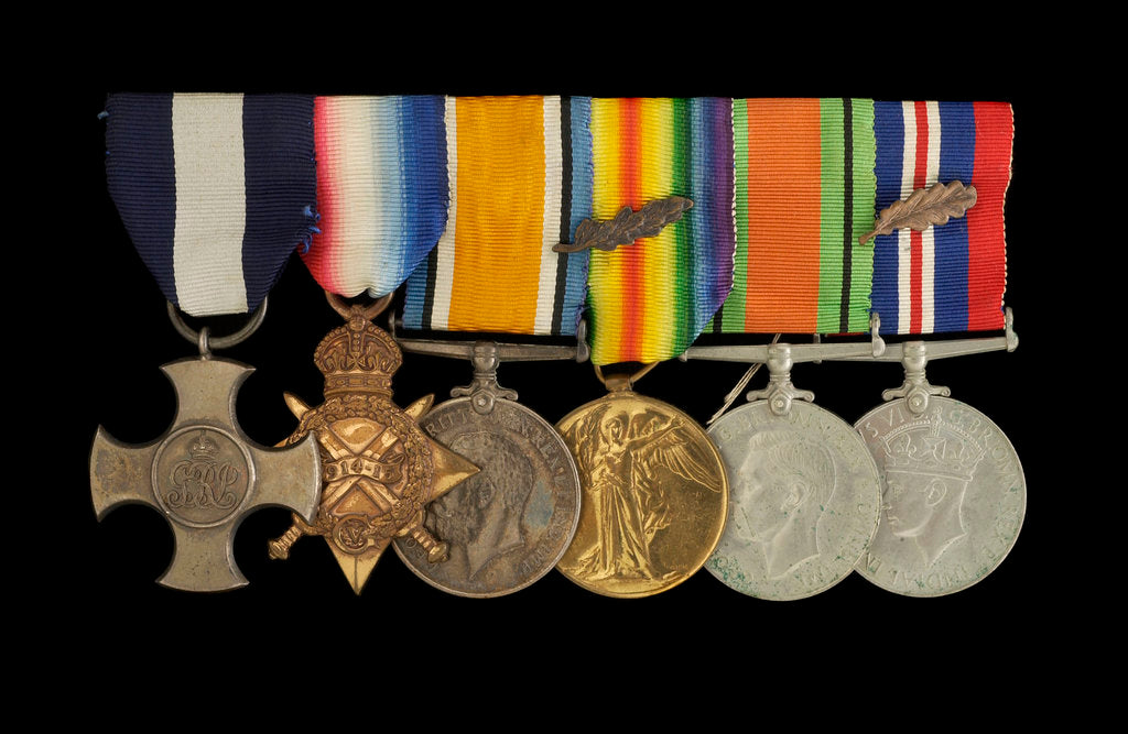 Detail of Medals awarded to Lt Cdr Basil N. Downie DSC RN (obverse, l to r, MED1825-1830) by Garrard & Co.