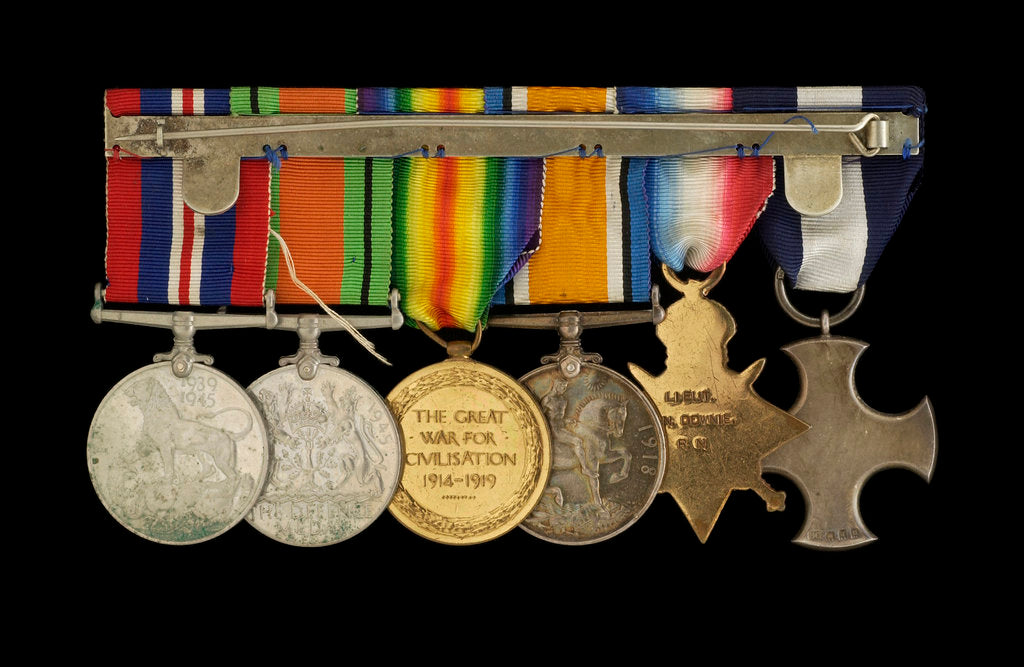 Detail of Medals awarded to Lt Cdr Basil N. Downie DSC RN (reverse, r to l, MED1825-1830) by Garrard & Co.