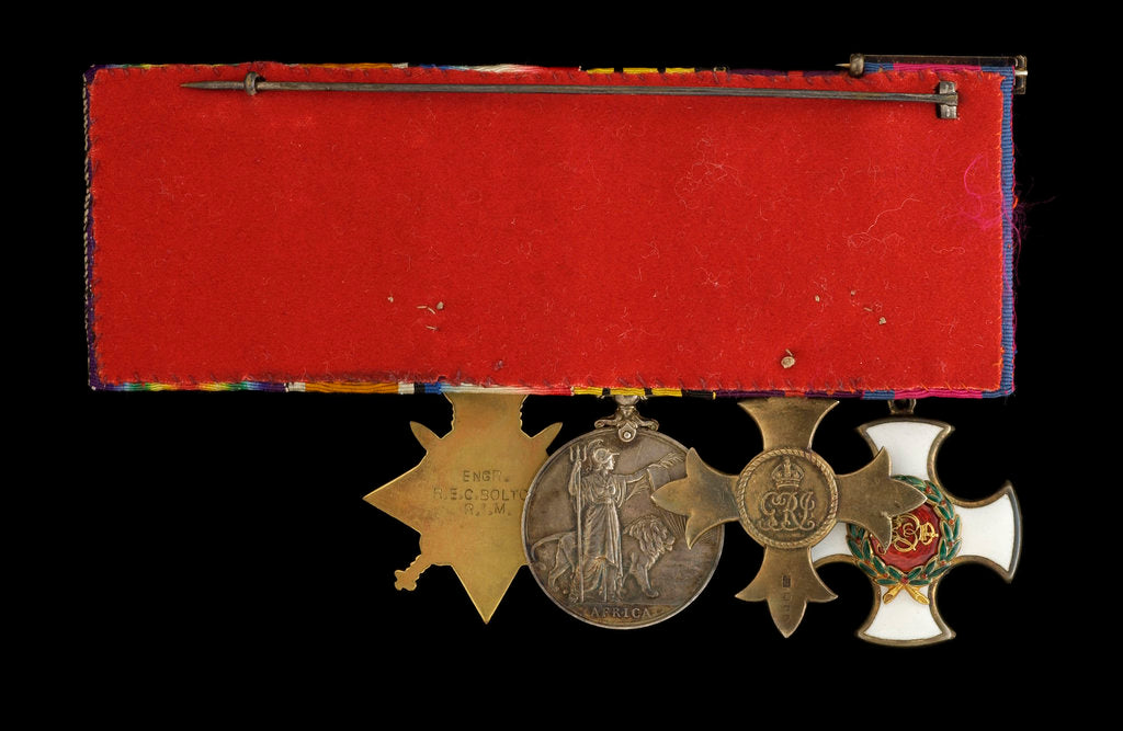 Detail of Medals awarded to Commander Richard Bolton DSO (reverse, r to l, MED1543-1546) by unknown