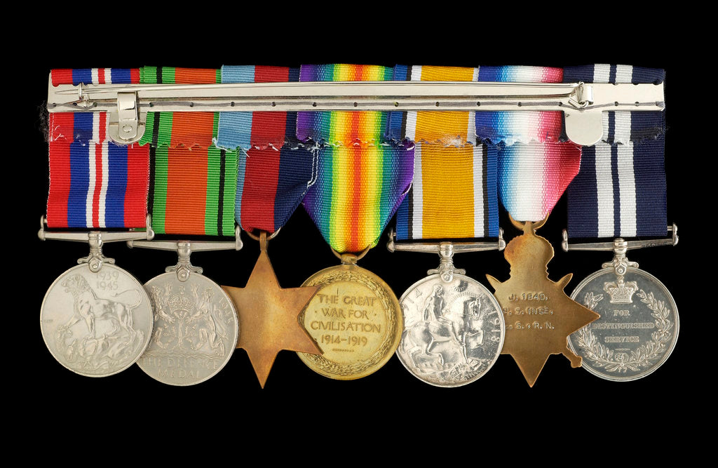Detail of Medals awarded to Percy S. Inge DSM (reverse, r to l, ZBA0315-0321) by B. Mackennal