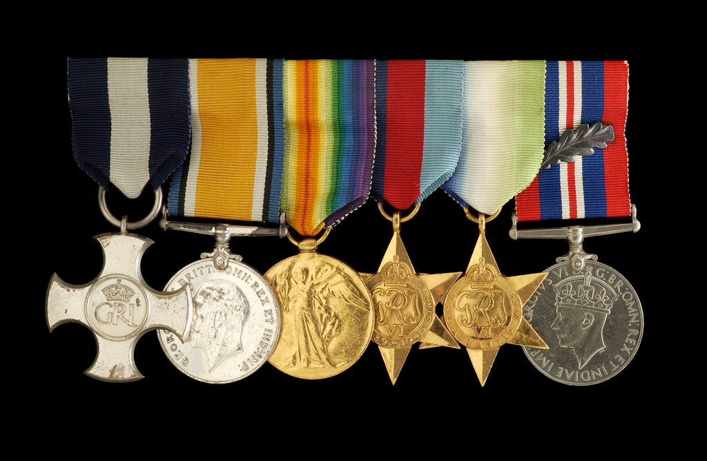 Detail of Medals awarded to Captain W. J. C. Robertson DSC (obverse, l to r, MED1095-1104) by unknown