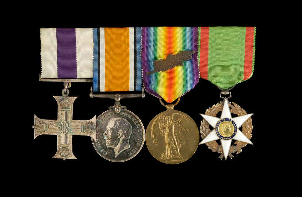 Detail of Medals awarded to Lieut Michael Isaacs MC RNVR (obverse, l to r, MED2606-2609) by unknown
