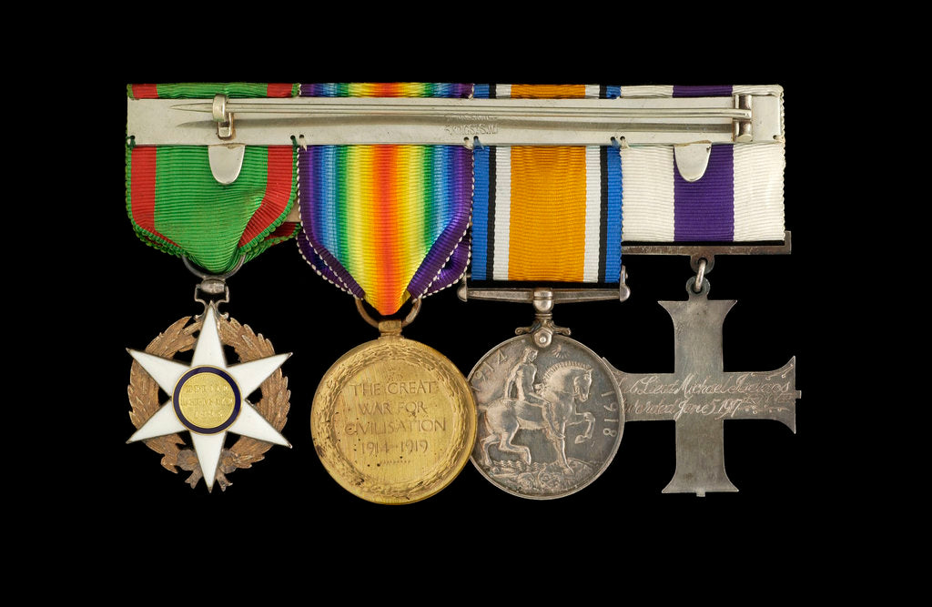 Detail of Medals awarded to Lieut Michael Isaacs MC RNVR (reverse, r to l, MED2606-2609) by unknown