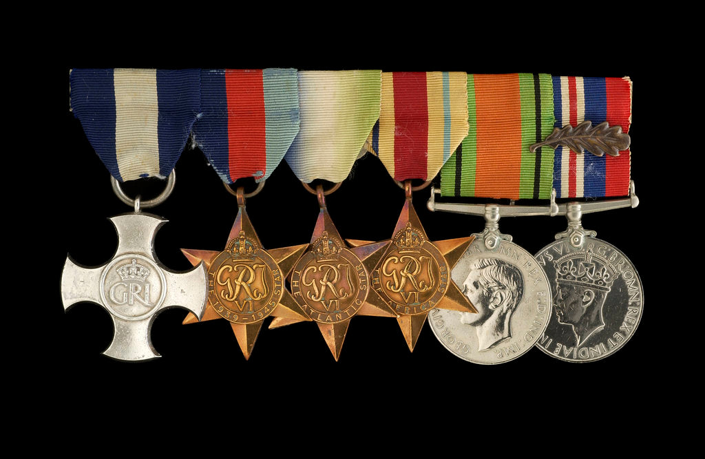Detail of Medals awarded to Cdr Herbert J. P. Crousaz DSC (obverse, l to r, ZBA2252-2257) by unknown