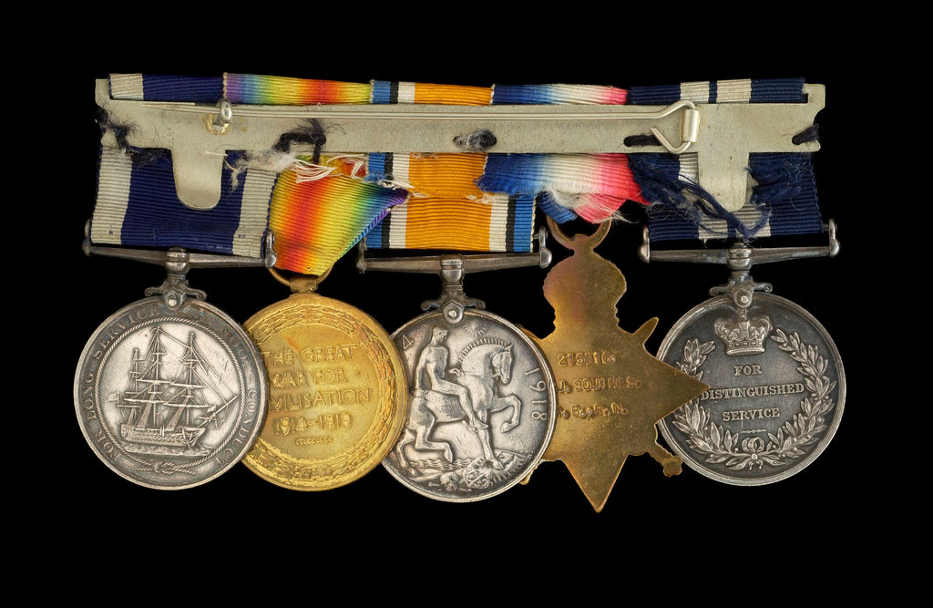Detail of Medals awarded to Able Seaman R. J. Squires DSM (reverse, r to l, MED2591-2595) by B. Mackennal