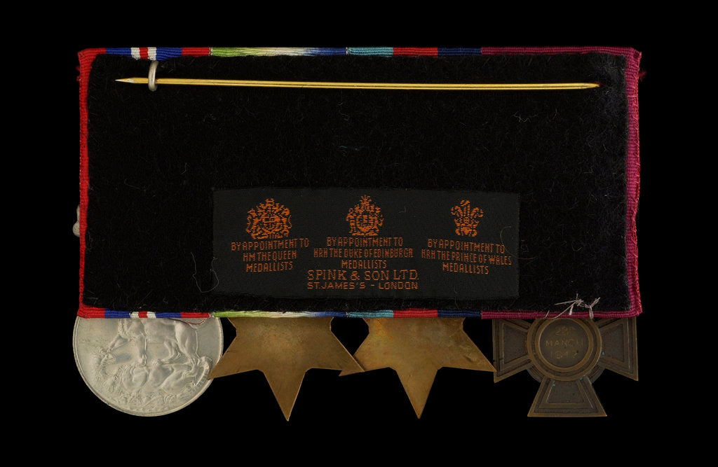 Detail of Medals awarded to Able Seaman William A. Savage VC (reverse, r to l, MED2108-2111) by Hancocks & Co