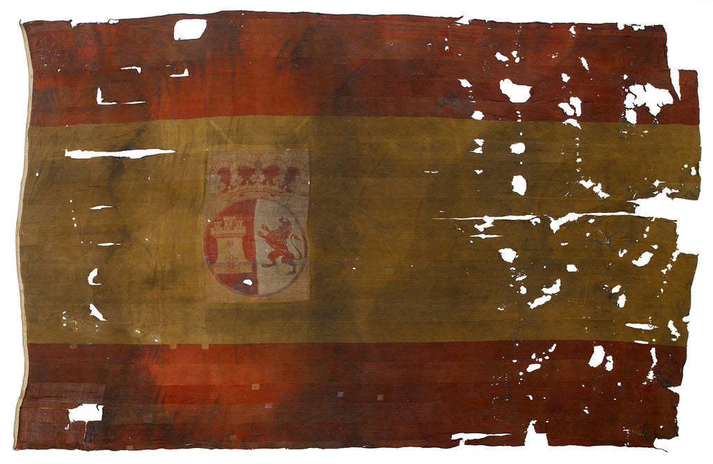 Detail of Spanish naval ensign, top left quarter detail by unknown