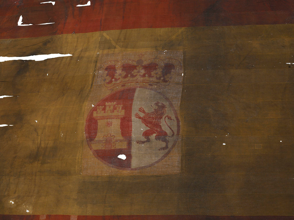 Detail of Spanish naval ensign, top right quarter detail by unknown