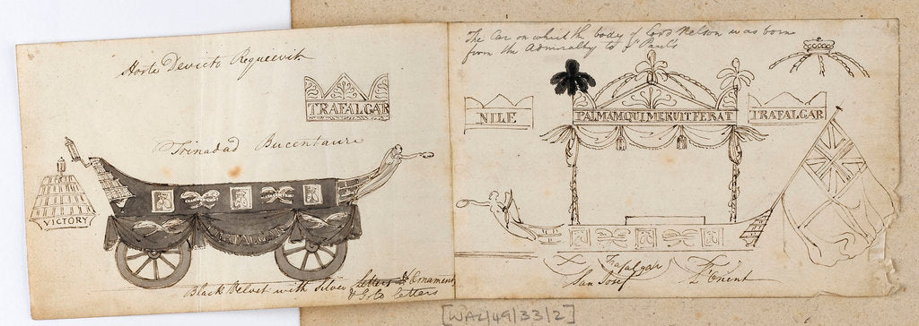 Detail of Two views of Nelson's funeral carriage by Thomas Baxter