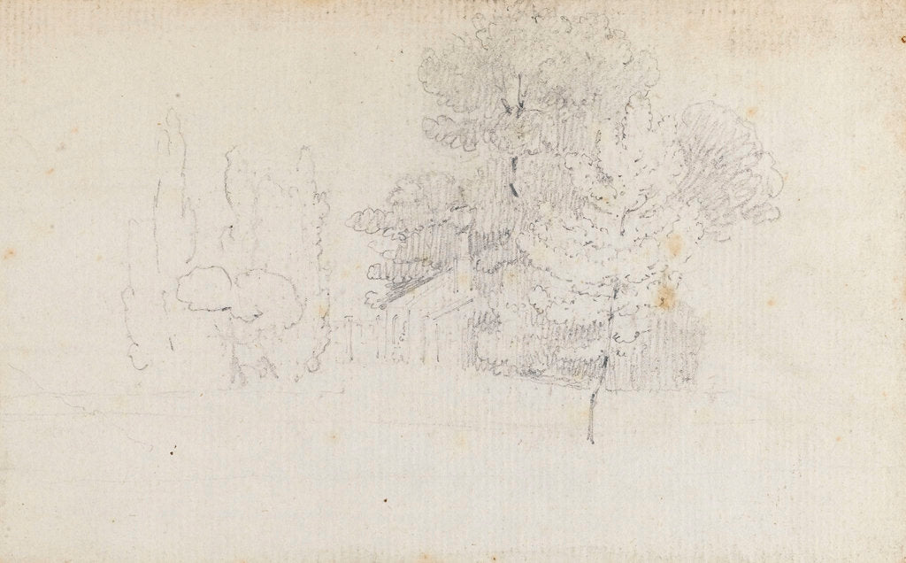 Detail of Study of trees and a small building in the grounds of Merton Place by Thomas Baxter