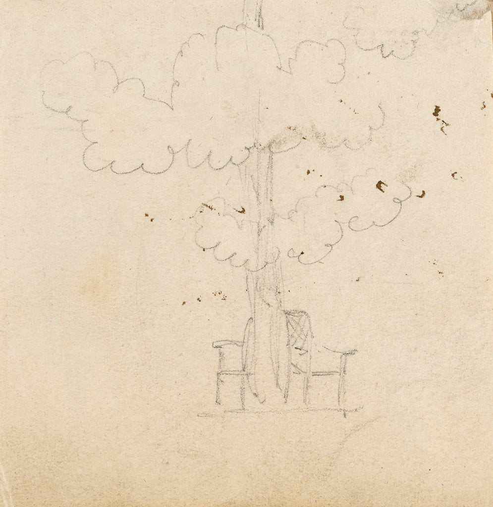 Detail of Study of a tree with two chairs either side of its trunk by Thomas Baxter