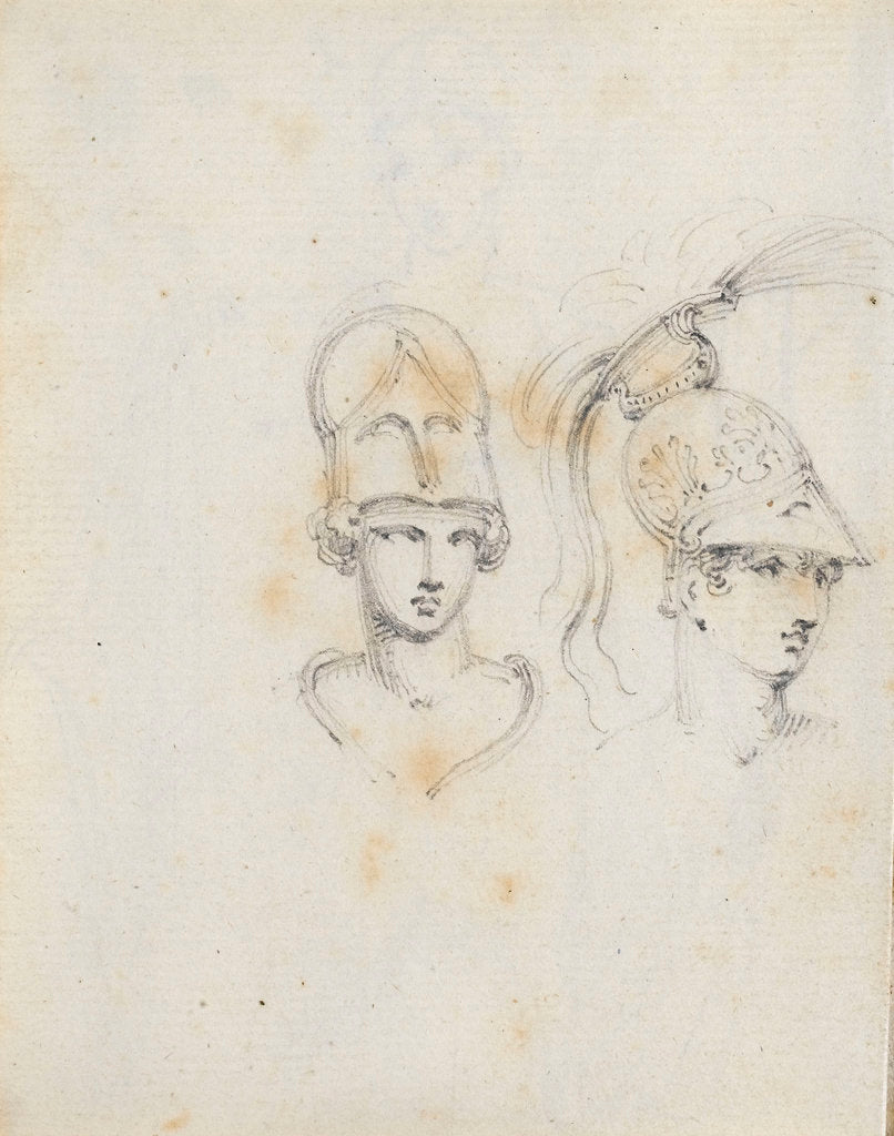 Detail of A study of two heads wearing different helmets (verso) by Thomas Baxter