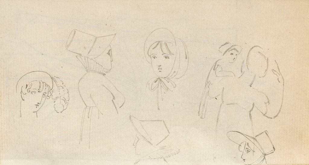 Detail of A woman in a turban, four sketches of a woman in a bonnet and a woman carrying a child (verso) by Thomas Baxter