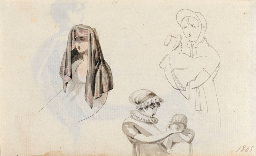 Detail of A woman with a draped head and two studies of a woman with a child, possibly Horatia (verso) by Thomas Baxter