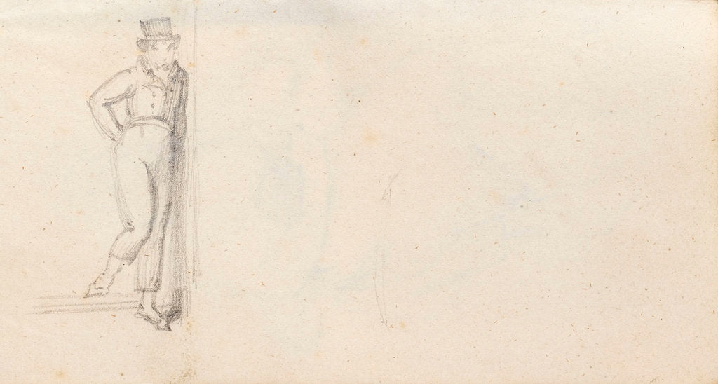 Detail of A young man stepping down a step, possibly Horatio Nelson (verso) by Thomas Baxter