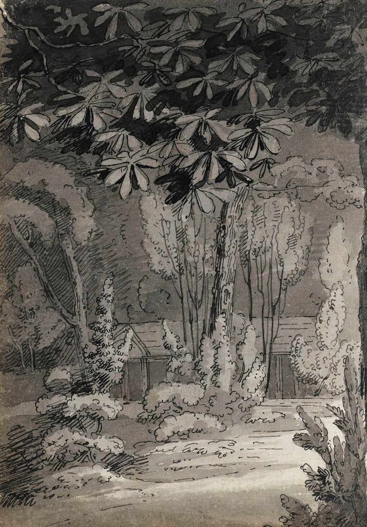Detail of A view through trees towards a single-storey building (verso) by Thomas Baxter