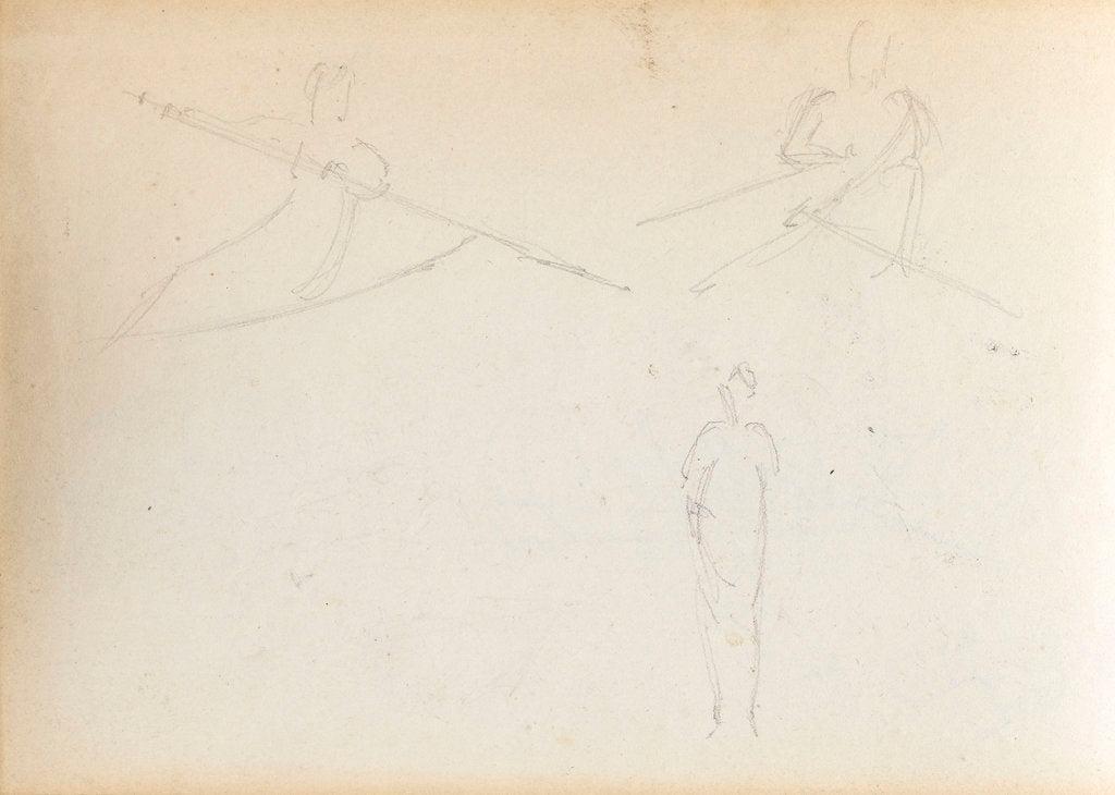 Detail of Two sketches of figures rowing and a standing woman, possibly Emma Hamilton (verso) by Thomas Baxter