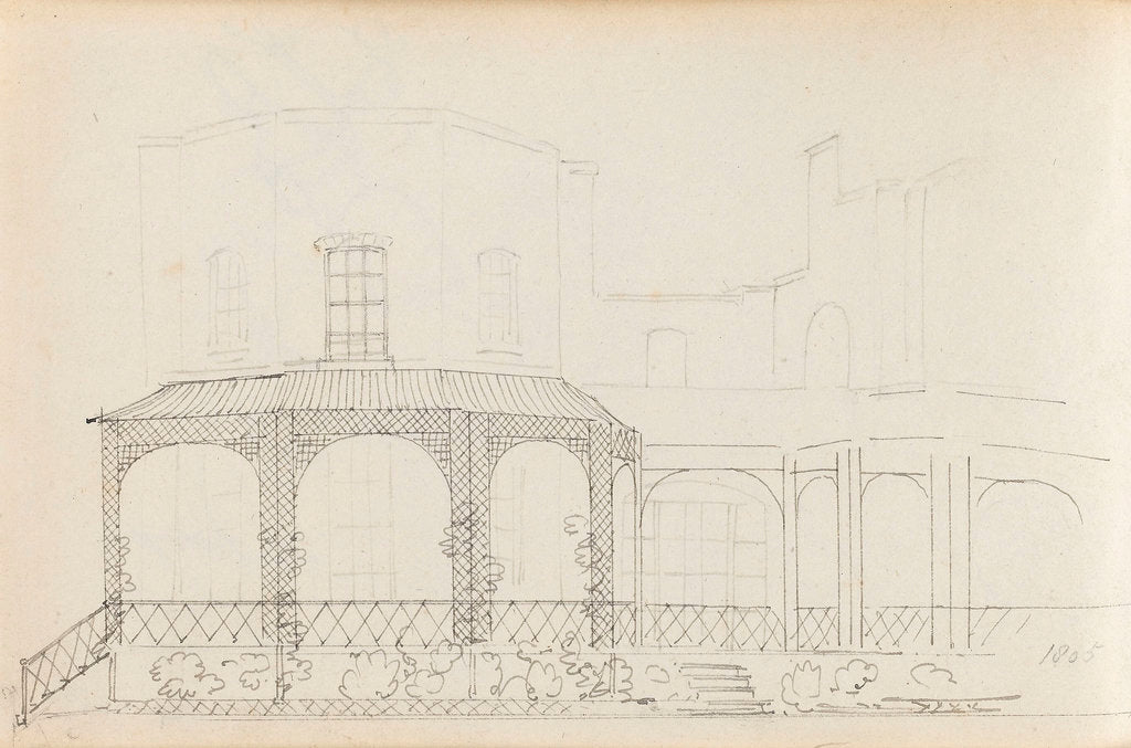 Detail of A view of the east elevation of Merton Place showing the Eating Room with the mirador (verso) by Thomas Baxter