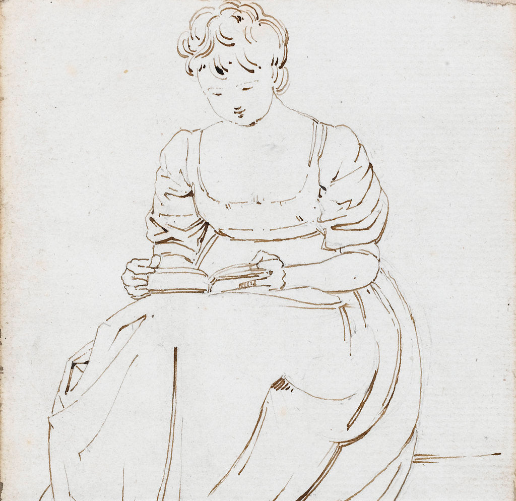 Detail of A young woman seated, reading a book, possibly Charlotte Nelson by Thomas Baxter