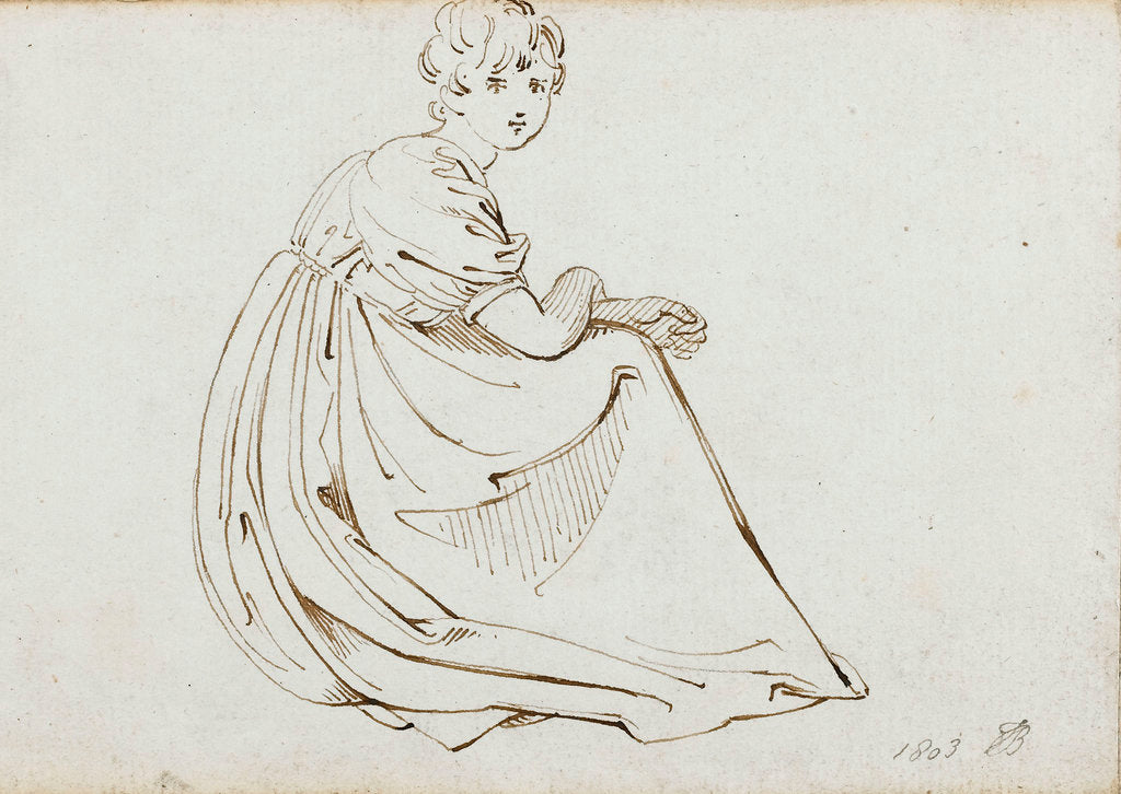 Detail of A young woman in a long dress crouching by Thomas Baxter