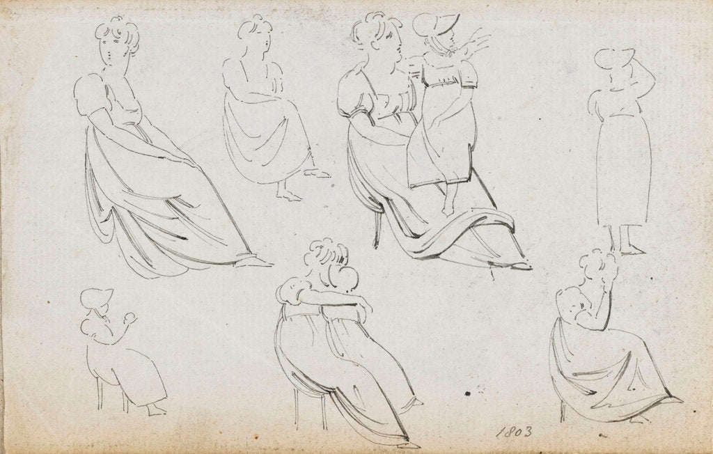 Detail of A sheet of figure studies (recto) by Thomas Baxter