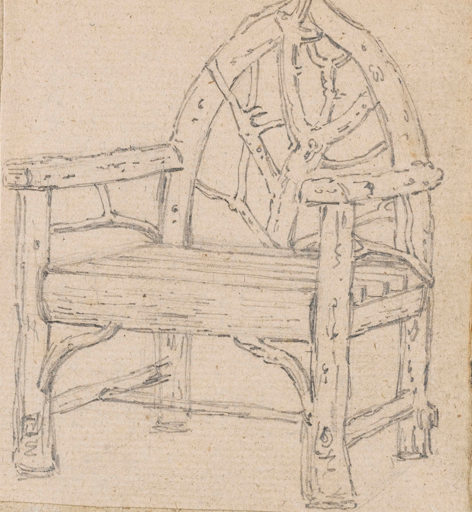 Detail of A study of a garden seat or chair by Thomas Baxter