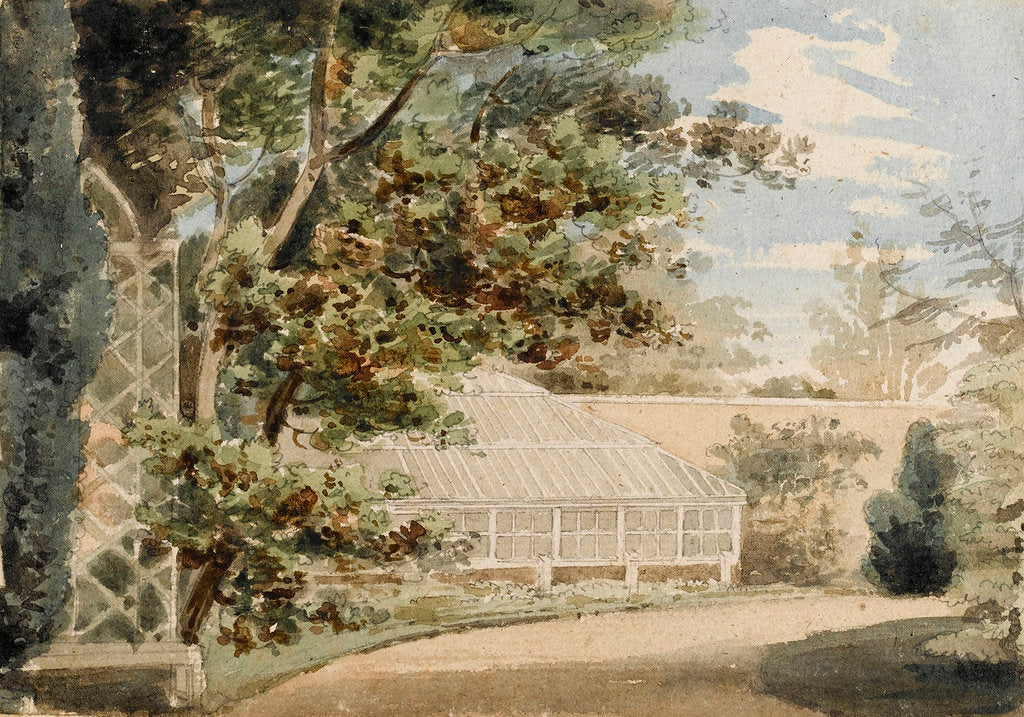 Detail of The garden with a glass house at Merton Place by Thomas Baxter