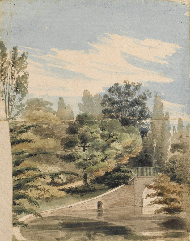 Detail of A bridge over the river at Merton Place by Thomas Baxter