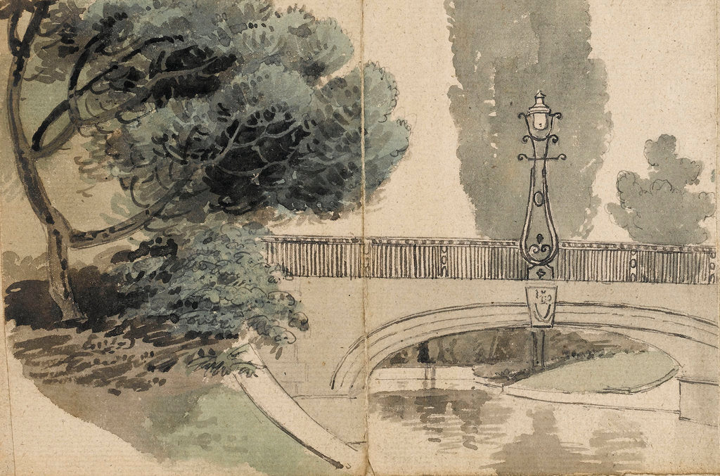 Detail of A view of the river and bridge at Merton Place by Thomas Baxter