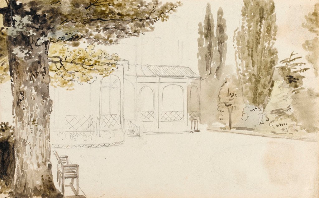 Detail of A view of the east elevation of Merton Place (recto) by Thomas Baxter