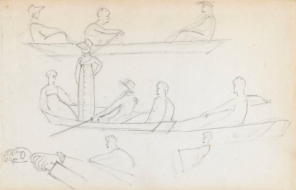 Detail of Studies of people in a rowing boat in the river at Merton Place (recto) by Thomas Baxter