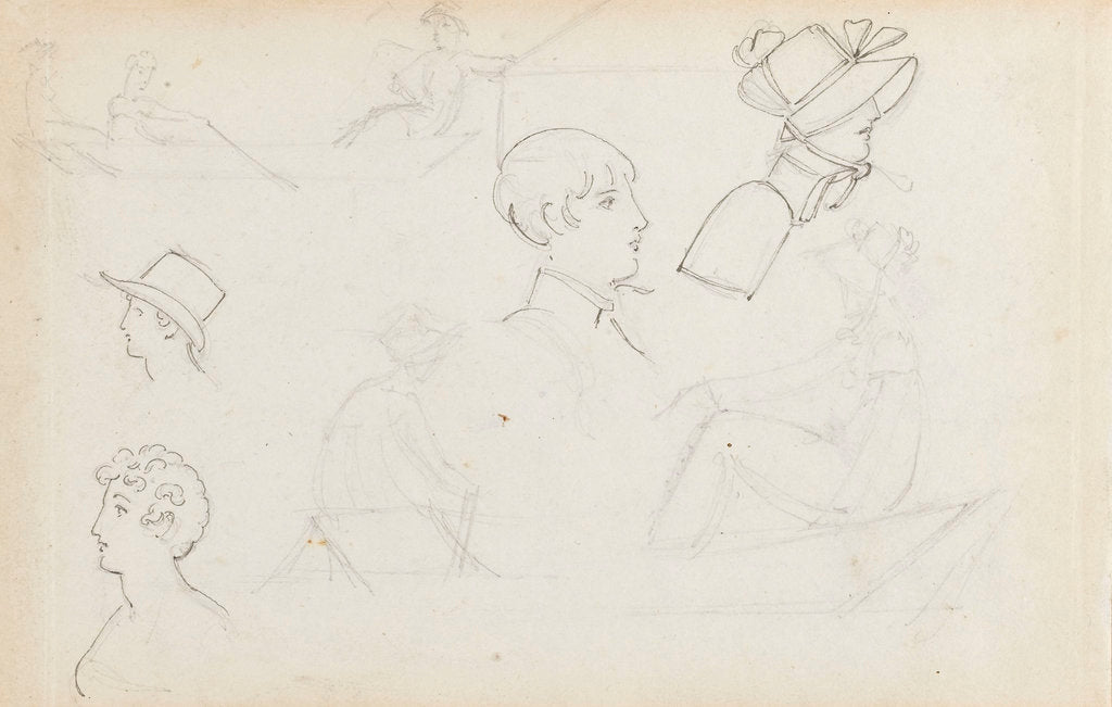 Studies of young women rowing and of heads in profile (recto) by Thomas Baxter