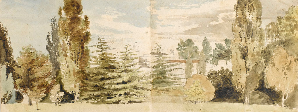 Detail of A view of Merton Place from the west seen across lawns and the river by Thomas Baxter