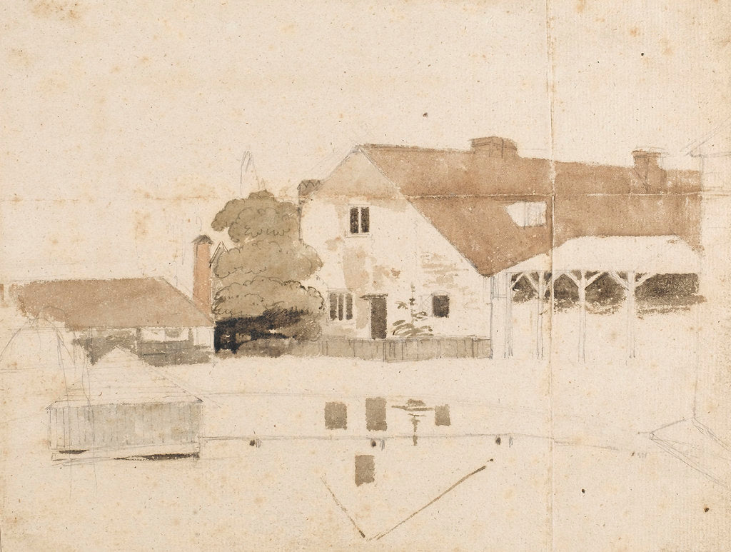 Detail of A view of buildings near Merton (possibly Merton Farm) by Thomas Baxter