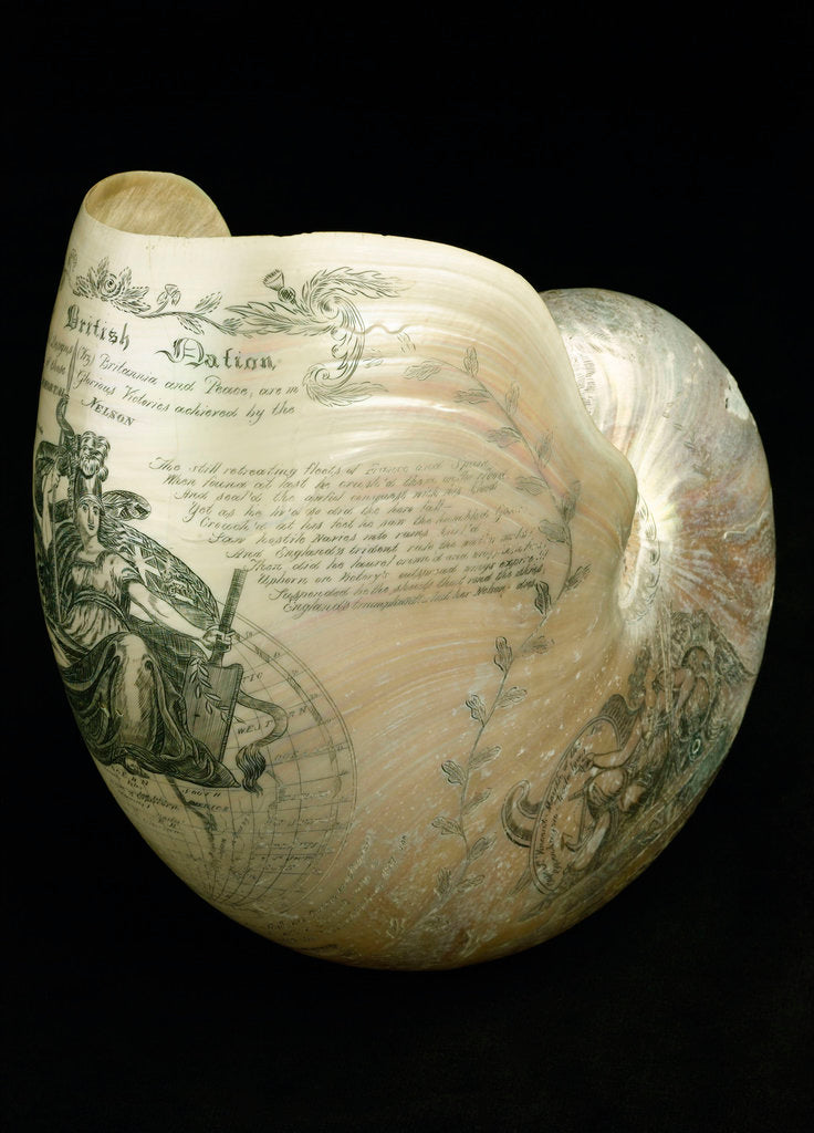 Detail of Engraved nautilus shell commemorating Nelson's victories by C. H. Wood